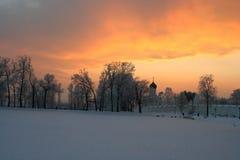 ηλιοβασίλεμα Χριστουγέννων Στοκ Φωτογραφία