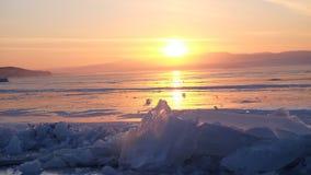 Ηλιοβασίλεμα baikal στη λίμνη, Ρωσία στοκ φωτογραφία με δικαίωμα ελεύθερης χρήσης