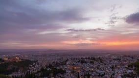 Ηλιοβασίλεμα HD της Γρανάδας απόθεμα βίντεο