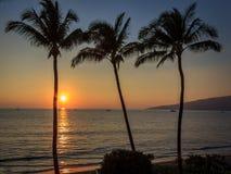 Ηλιοβασίλεμα Kihei στοκ εικόνες