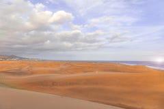 Ηλιοβασίλεμα Maspalomas στην όαση Las Dunas EL ή τους φυσικούς αμμόλοφους άμμου σχετικά με στοκ εικόνες