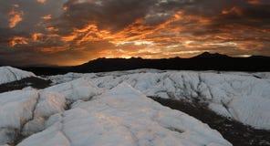 ηλιοβασίλεμα pano matanuska παγετών στοκ εικόνα