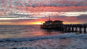 Ηλιοβασίλεμα Santa Monica Pier Στοκ Φωτογραφία