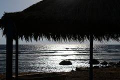 Ηλιοβασίλεμα Sinai στην παραλία Ερυθρών Θαλασσών στοκ φωτογραφίες