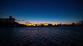 Ηλιοβασίλεμα timelapse στην περιοχή κόλπων του Τόκιο στον ευρύ πυροβολισμό Odaiba Τόκιο φιλμ μικρού μήκους