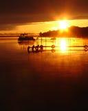 ηλιοβασίλεμα Wisconsin ποταμών α Στοκ Εικόνες
