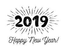 Ηλιοφάνειες 2019 Συγχαρητήρια με καλή χρονιά επίσης corel σύρετε το διάνυσμα απεικόνισης διανυσματική απεικόνιση