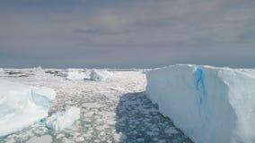 Ηλιοφώτιστα παγόβουνα στον ωκεανό της Ανταρκτικής Εναέριος πυροβολισμός απόθεμα βίντεο