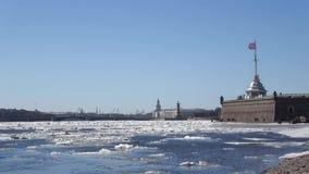 Ηλιόλουστη ημέρα Απριλίου στο Neva Πετρούπολη Άγιος απόθεμα βίντεο