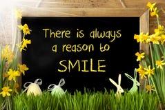 Ηλιόλουστοι νάρκισσοι, αυγό Πάσχας, λαγουδάκι, λόγος αποσπάσματος πάντα να χαμογελάσει Στοκ Εικόνες