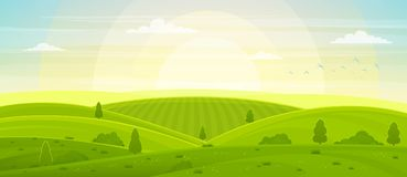 Ηλιόλουστο αγροτικό τοπίο με τους λόφους και τους τομείς στην αυγή ελεύθερη απεικόνιση δικαιώματος
