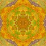 Ηλιόλουστο πορτοκαλί τρίγωνο κεραμιδιών καλειδοσκόπιων mandala arabesque Στοκ Φωτογραφία