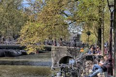 Ημέρα άνοιξη στο Άμστερνταμ Στοκ εικόνες με δικαίωμα ελεύθερης χρήσης