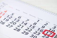 Ημέρα Αγίου Patricks 17 Μαρτίου σημάδι στο ημερολόγιο Στοκ εικόνα με δικαίωμα ελεύθερης χρήσης
