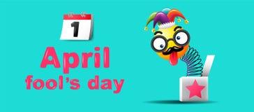 Ημέρα ανόητων ` s Απριλίου, τυπογραφία, ζωηρόχρωμο πρότυπο σχεδίου, διάνυσμα Στοκ εικόνα με δικαίωμα ελεύθερης χρήσης