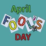 Ημέρα ανόητων s Απριλίου, τυπογραφία στοκ εικόνα