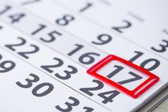 Ημέρα αριθμός 17 σημάδι στο ημερολόγιο Στοκ φωτογραφία με δικαίωμα ελεύθερης χρήσης