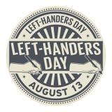Ημέρα αριστερός-Handers, στις 13 Αυγούστου απεικόνιση αποθεμάτων