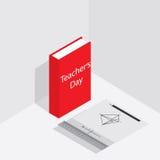 Ημέρα δασκάλου Έμβλημα ή αφίσα για την ημέρα του δασκάλου Isometric βιβλίο, μολύβι, κυβερνήτης Στοκ φωτογραφία με δικαίωμα ελεύθερης χρήσης