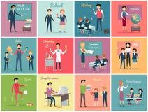 Ημέρα δασκάλων Θέστε το επάγγελμα διδασκαλίας απεικόνιση αποθεμάτων