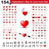 Ημέρα βαλεντίνου, δώρο, αγάπη και πακέτο εικονιδίων καρδιών απεικόνιση αποθεμάτων