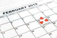 Ημέρα βαλεντίνου, στις 14 Φεβρουαρίου 2019 στο ημερολόγιο στοκ φωτογραφία