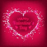 Ημέρα βαλεντίνων - η διανυσματική ευχετήρια κάρτα με ακτινοβολεί κόκκινες καρδιές στο λαμπρό υπόβαθρο διανυσματική απεικόνιση