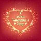 Ημέρα βαλεντίνων - η διανυσματική ευχετήρια κάρτα με ακτινοβολεί κόκκινες καρδιές στο λαμπρό υπόβαθρο ελεύθερη απεικόνιση δικαιώματος