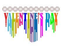 Ημέρα βαλεντίνων που γράφει με πολλά χρώματα όπως το χρώμα Στοκ Εικόνα