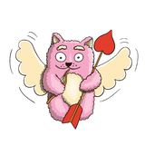 Ημέρα βαλεντίνων, ρόδινη γάτα Cupid βαλεντίνων με λίγο τόξο και μεγάλο βέλος έτοιμο για την καρδιά εραστών ` s στο άσπρο υπόβαθρο Στοκ φωτογραφία με δικαίωμα ελεύθερης χρήσης