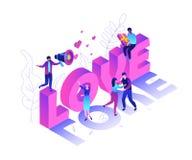 Ημέρα βαλεντίνων - σύγχρονη ζωηρόχρωμη isometric διανυσματική απεικόνιση ελεύθερη απεικόνιση δικαιώματος