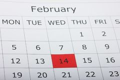 Ημέρα βαλεντίνων ` s στις 14 Φεβρουαρίου ημερολογιακών διακοπών Στοκ Εικόνα