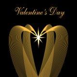 Ημέρα βαλεντίνων s Συγχαρητήρια επιγραφή Χρυσά κύματα υπό μορφή καρδιών σε ένα μαύρο υπόβαθρο Αστέρι Στοκ εικόνα με δικαίωμα ελεύθερης χρήσης