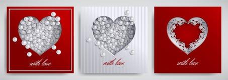 Ημέρα βαλεντίνων ` s, σύνολο σχεδίου ημέρας μητέρων ` s Ευχετήρια κάρτα, συλλογή εμβλημάτων Καρδιά εγγράφου Cutted με την κορδέλλ ελεύθερη απεικόνιση δικαιώματος