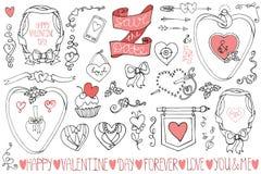 Ημέρα βαλεντίνου, γαμήλια πλαίσια, στοιχεία ντεκόρ Στοκ Εικόνες