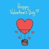 Ημέρα βαλεντίνου που χαρακτηρίζει το πετώντας μπαλόνι Διανυσματική απεικόνιση