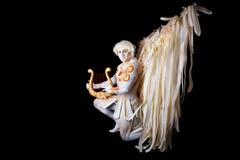 Ημέρα βαλεντίνου, cupid άτομο με την άρπα Στοκ Εικόνες