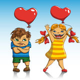 Ημέρα βαλεντίνων αγοριών και κοριτσιών Στοκ Εικόνα