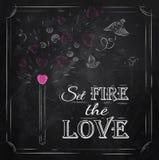Ημέρα βαλεντίνων αφισών που γράφει την καθορισμένη πυρκαγιά η αγάπη. Στοκ Φωτογραφίες