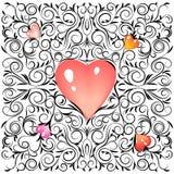 Ημέρα βαλεντίνων διακοσμήσεων σκίτσων Doodle με τις μαλακές ρόδινες θολωμένες καρδιές επίσης corel σύρετε το διάνυσμα απεικόνισης Στοκ εικόνες με δικαίωμα ελεύθερης χρήσης