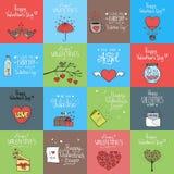 Ημέρα βαλεντίνων καθορισμένη - εμβλήματα και κάρτες Απεικόνιση αποθεμάτων