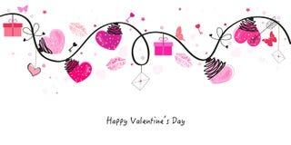 Ημέρα βαλεντίνων με τις καρδιές και τη διανυσματική ευχετήρια κάρτα εικονιδίων αγάπης Στοκ Εικόνες