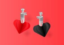 Ημέρα βαλεντίνων με τις καρδιές και τους ανθρώπους Στοκ Εικόνα