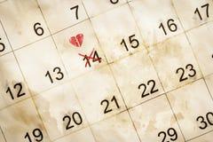 Ημέρα βαλεντίνων που χαρακτηρίζεται στο ημερολόγιο Στοκ εικόνες με δικαίωμα ελεύθερης χρήσης