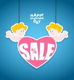 Ημέρα βαλεντίνων πωλήσεων Λίγος άγγελος κρατά μια καρδιά με το κείμενο Στοκ φωτογραφία με δικαίωμα ελεύθερης χρήσης