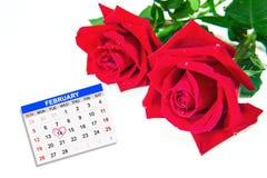 Ημέρα βαλεντίνων, στις 14 Φεβρουαρίου στην ημερολογιακή σελίδα Στοκ Φωτογραφία