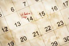 Ημέρα βαλεντίνων στο ημερολόγιο Στοκ εικόνες με δικαίωμα ελεύθερης χρήσης