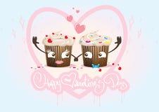 Ημέρα βαλεντίνων cupcakes inlove, ζεύγος Στοκ Φωτογραφίες