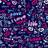Ημέρα βαλεντίνων ` s ή γαμήλιο άνευ ραφής σχέδιο με τις καρδιές και το Ι Lo ελεύθερη απεικόνιση δικαιώματος