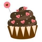 Ημέρα βαλεντίνων ` s του ST, ρομαντικός, σοκολάτα αγάπης cupcake Στοιχείο σχεδίου, εικονίδιο Στοκ Εικόνα